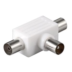 Koax T-Adapter: 2x Koax-Buchse – Koax-Stecker